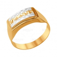Печатка из золота с алмазной гранью мужская