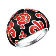 Широкое кольцо стилизованное под Хохломскую роспись