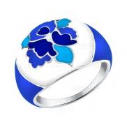 Серебряное кольцо с голубыми узорами