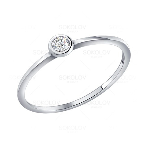 Помолвочное кольцо из серебра c фианитом   Золотые, серебряные ... 03ab26d3221