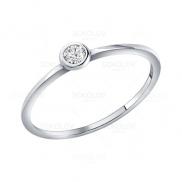 Помолвочное кольцо из серебра c фианитом