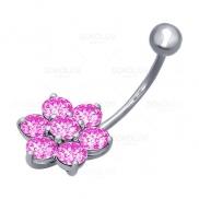 Пирсинг в пупок из серебра с розовыми фианитами
